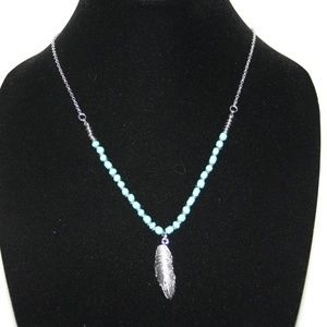 LONG silver and turquoise feather necklace